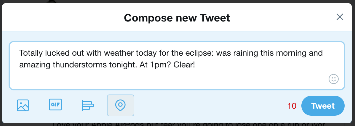 tweet without hashtags eclipse