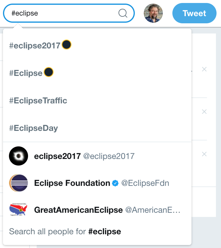 search for #eclipse on twitter