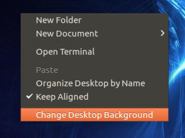 ubuntu linux context menu
