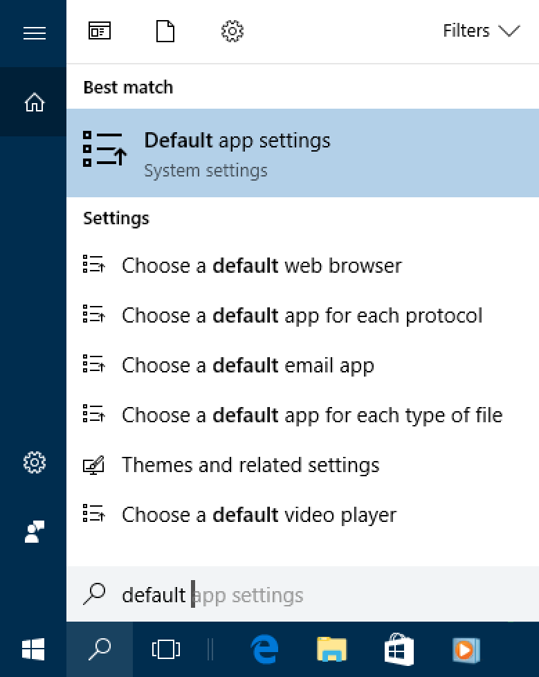 win10 search for 'default'