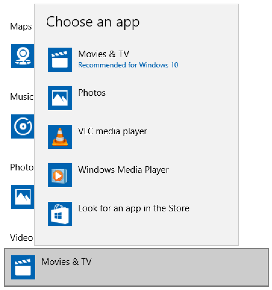 default windows app, movies .mov wav