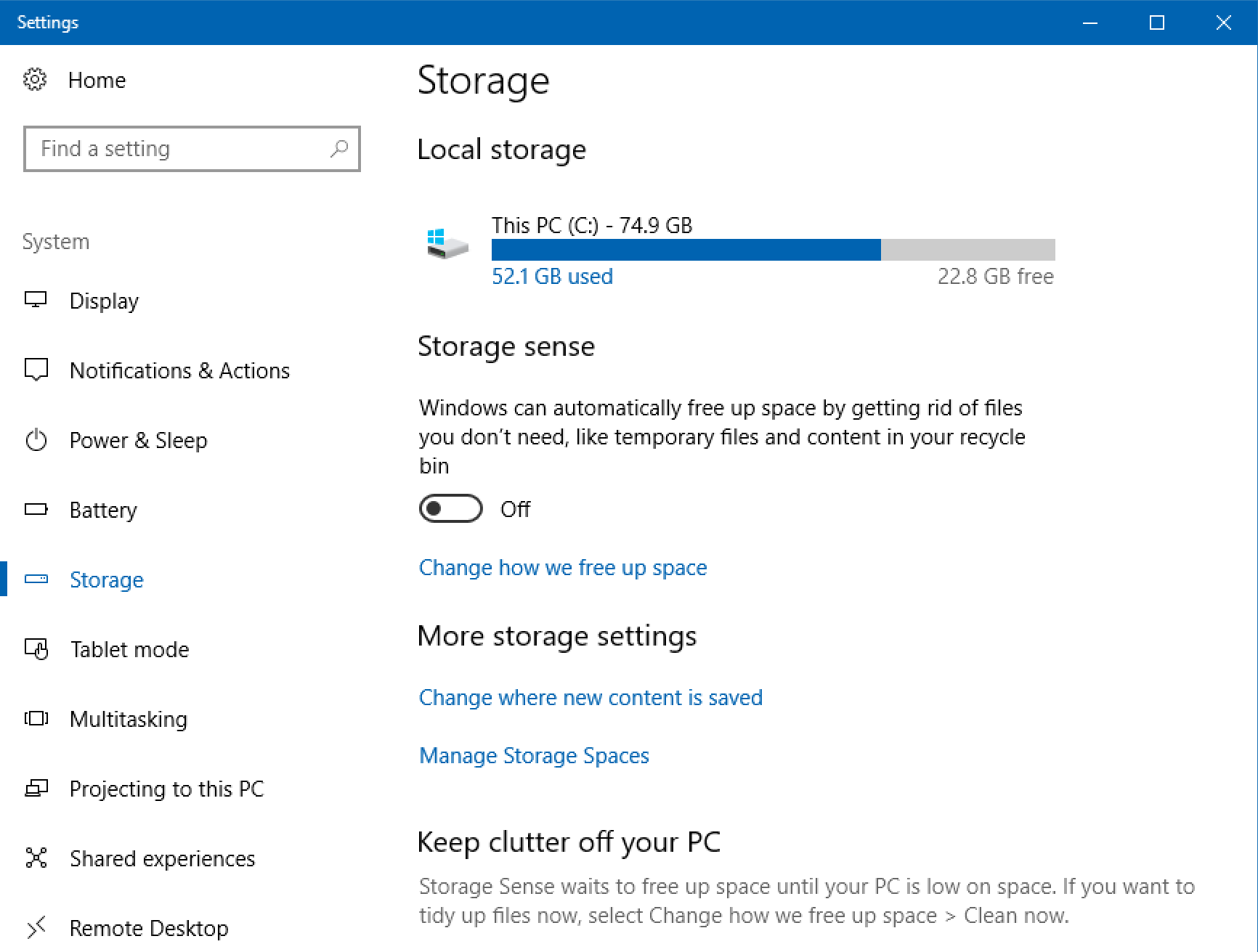 how to change system restore disk space