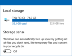 win10 windows 10 storage sense frees lost disk space