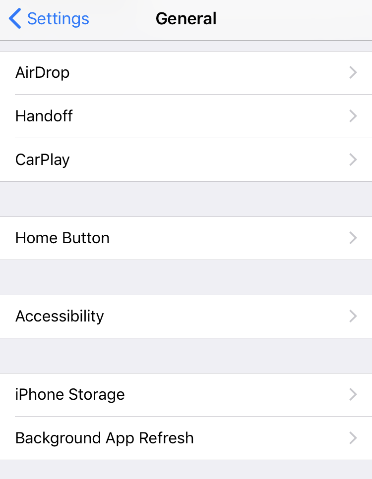 iOS 11 - Settings > General