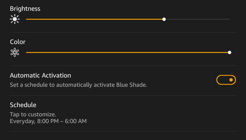 blue shade - kindle fire - automatic scheduler timer