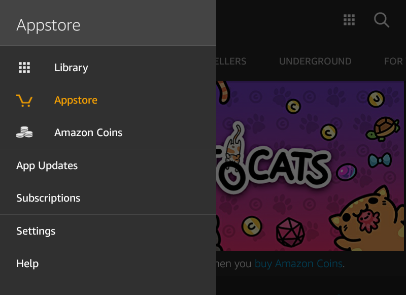 amazon kindle fire hd appstore menu