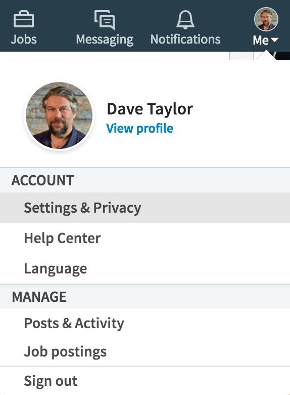 linkedin main account menu - settings and privacy