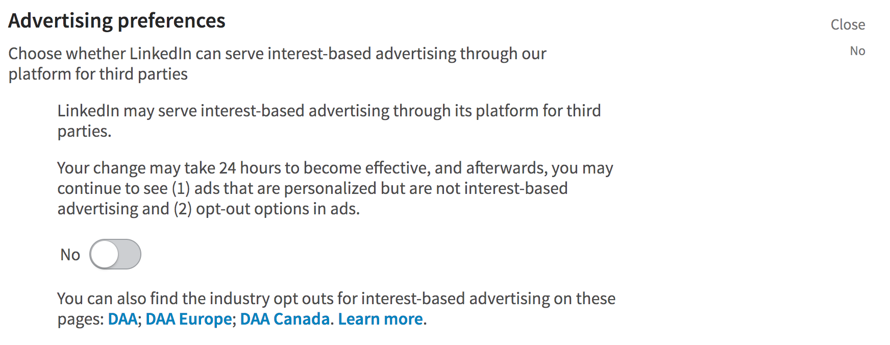 linkedin advertising privacy settings - third party ad tracking