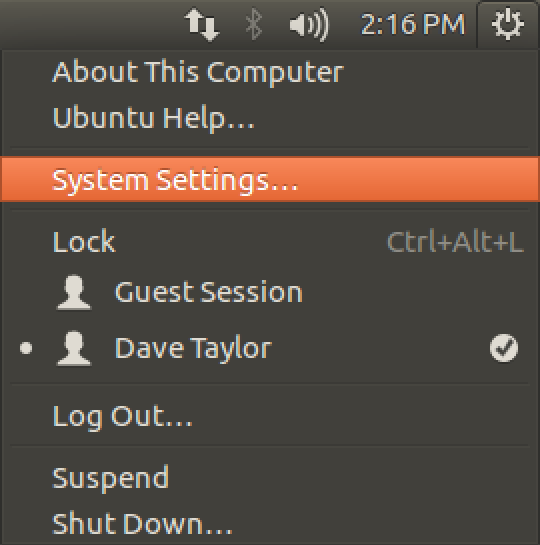 ubuntu linux system settings