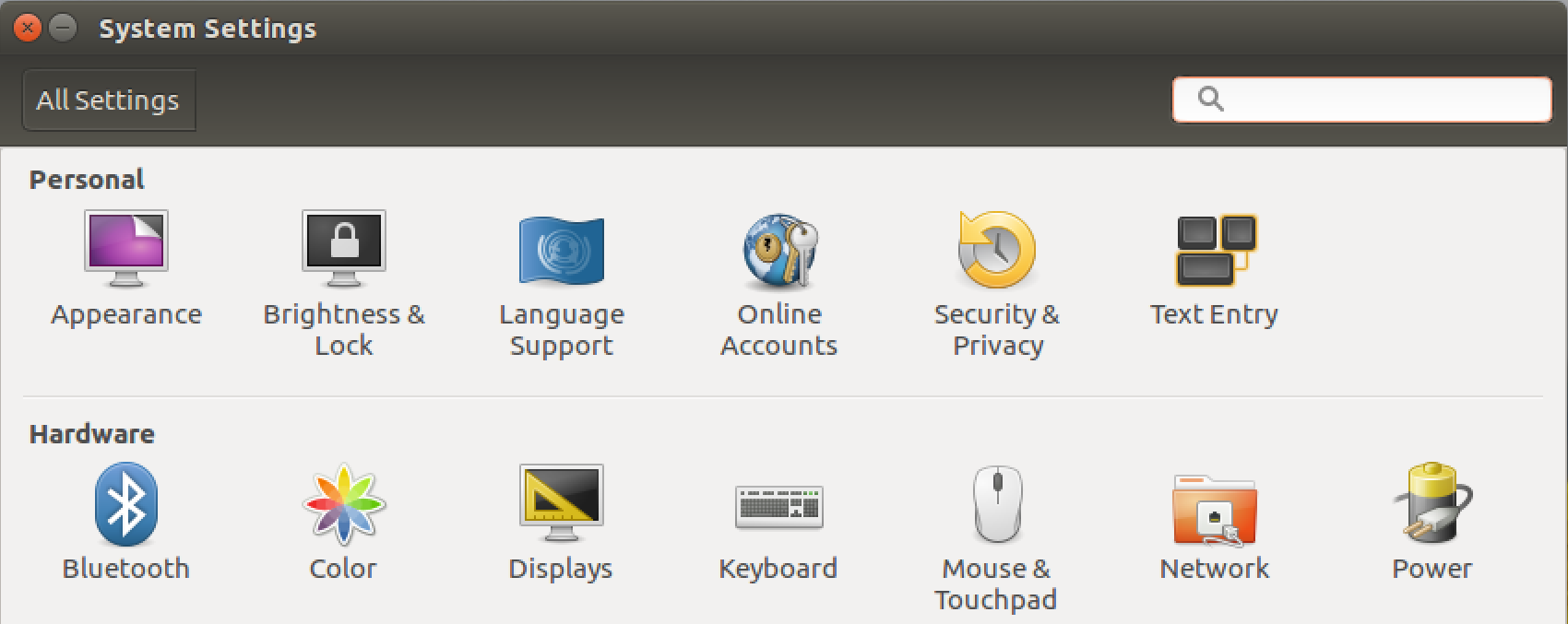 ubuntu linux system settings preferences panel pane