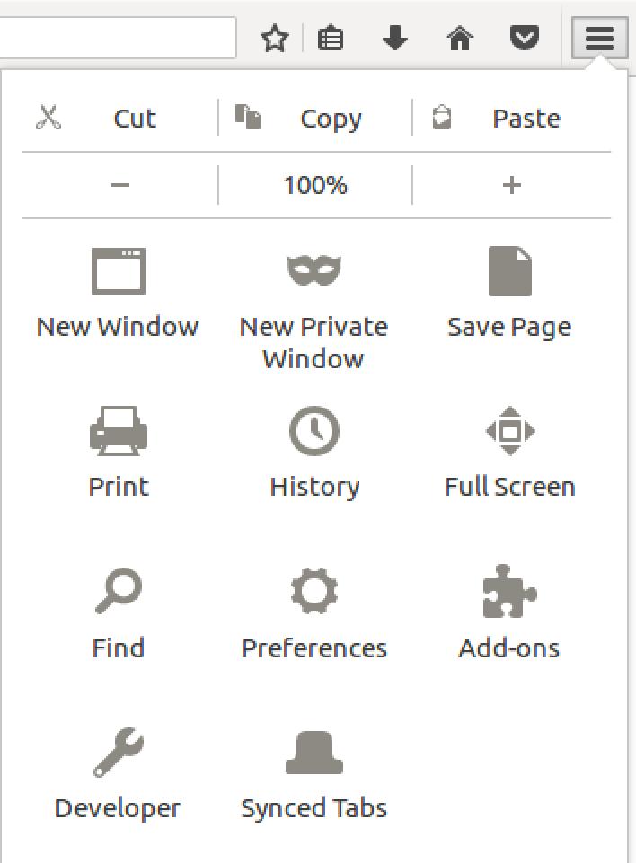 firefox main menu linux