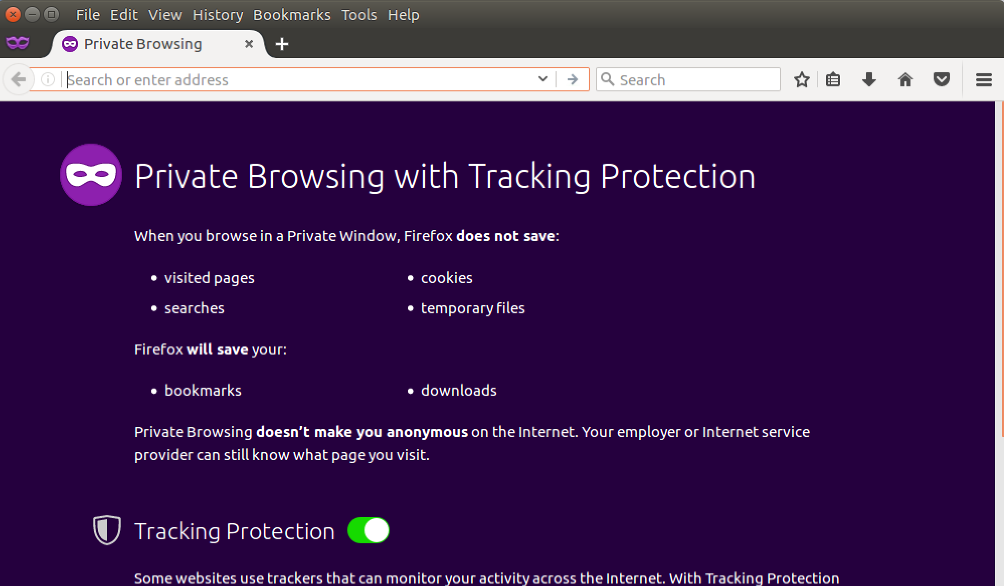 firefox private browsing window, ubuntu linux