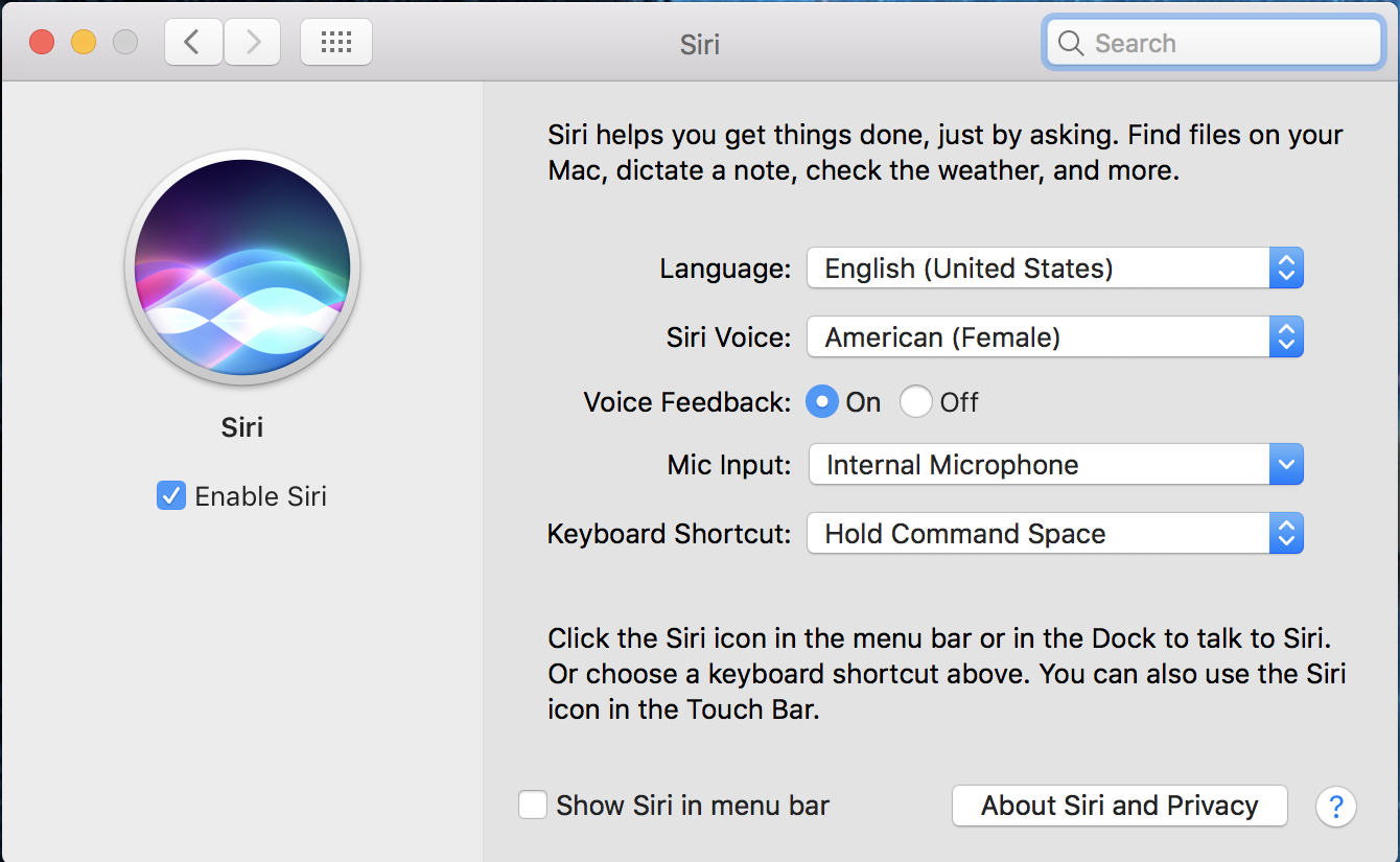 macos x system preferences siri control panel