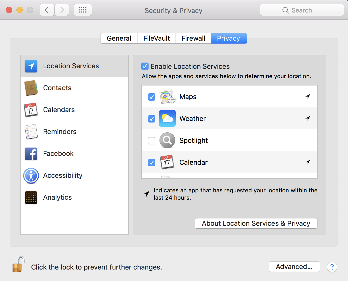 macos x system preferences control panel - privacy location