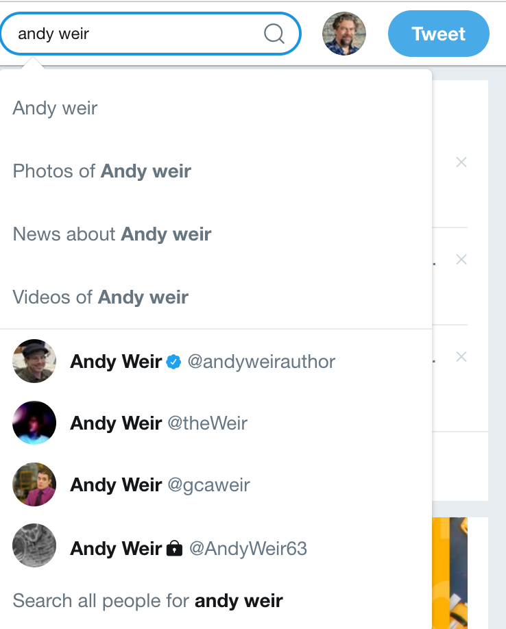 search for andy weir, twitter