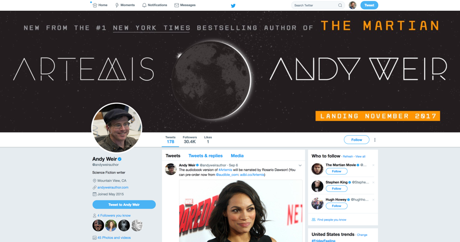 andy weir - author - twitter