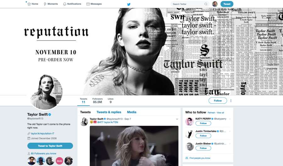 taylor swift page on twitter