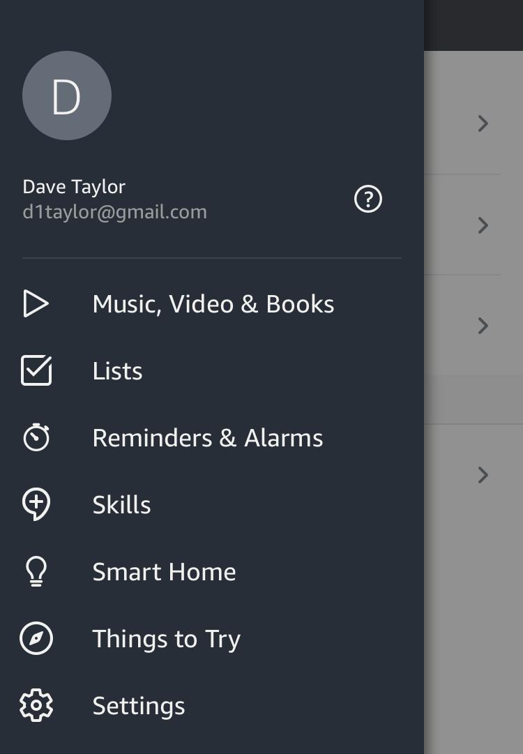 amazon alexa app - iphone - main menu