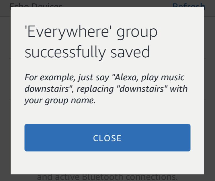 multi-room music group - amazon alexa echo - successfully saved