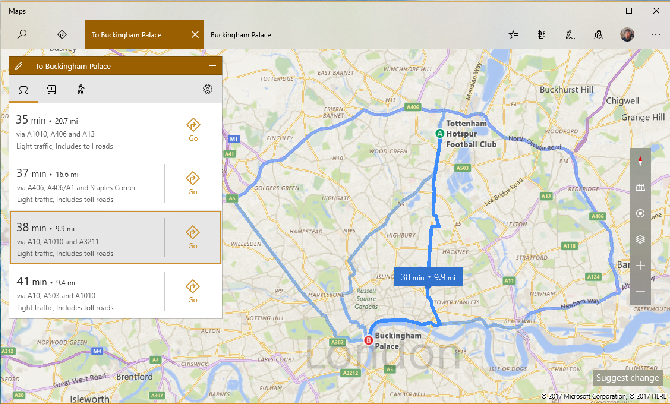 four routes bing maps white hart lane buckingham palace