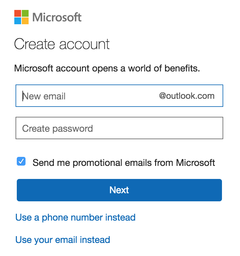 create email address, outlook.com