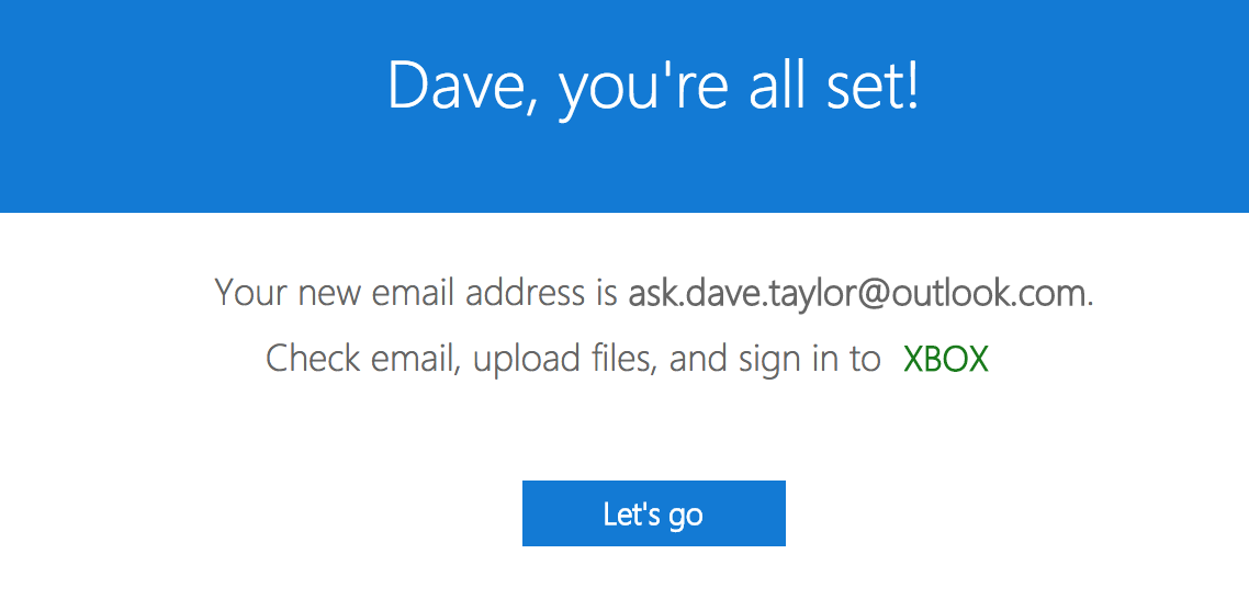 you're all set new outlook.com email address
