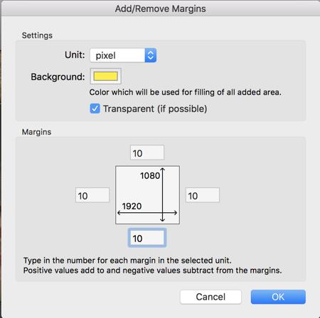 graphicconverter add margins
