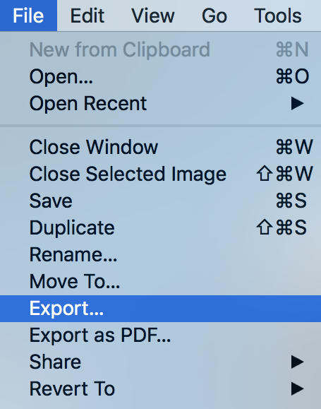 preview file menu - export