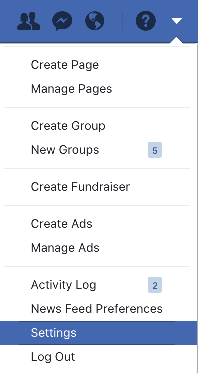 facebook main account menu