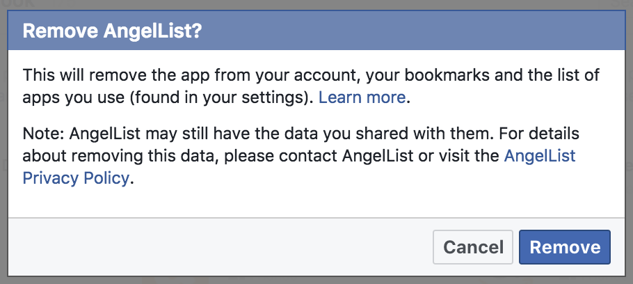 facebook app permission sure delete revoke