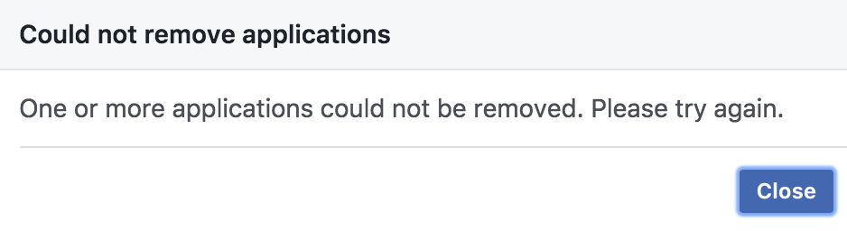 cannot remove application - facebook apps