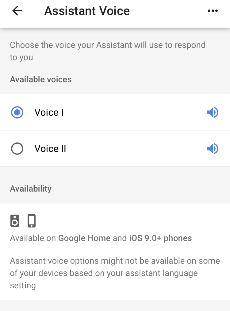 google home assistant voice gender male female options settings
