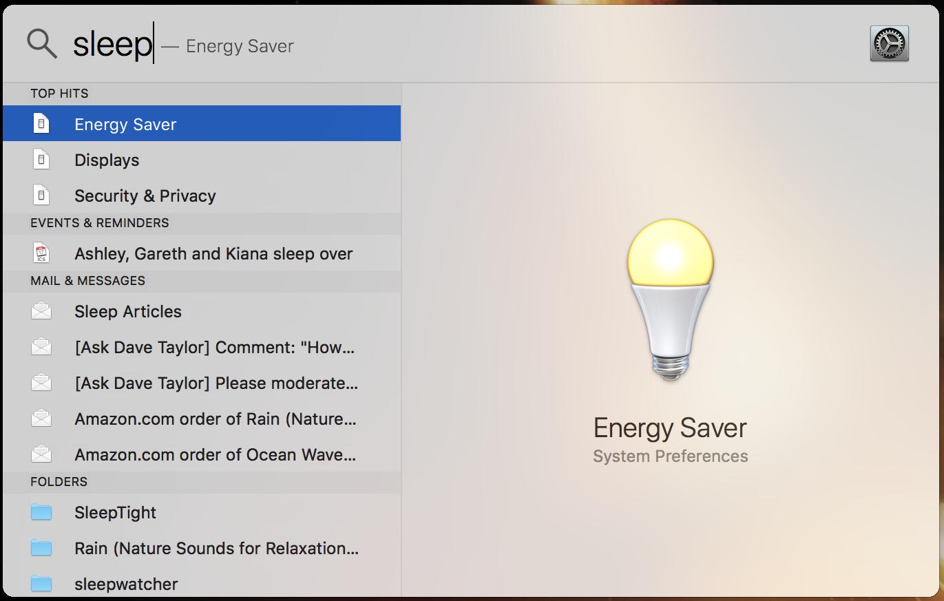mac spotlight 'sleep' search