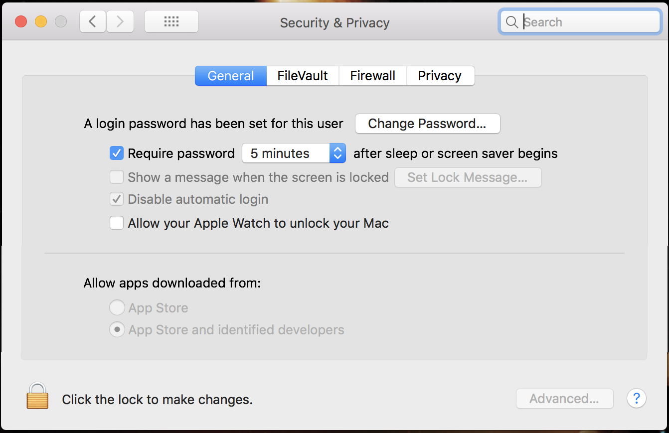 mac system preferences > security & privacy > general