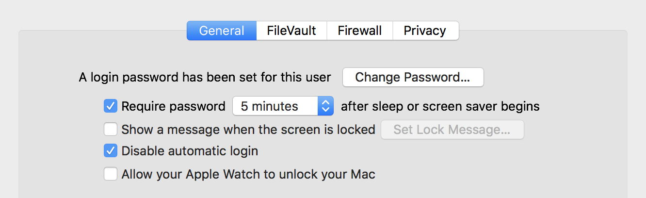 macos x mac sleep password settings privacy security