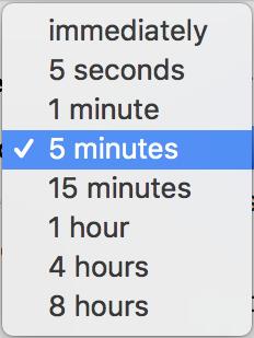 sleep password timeout options, imac mac macos x