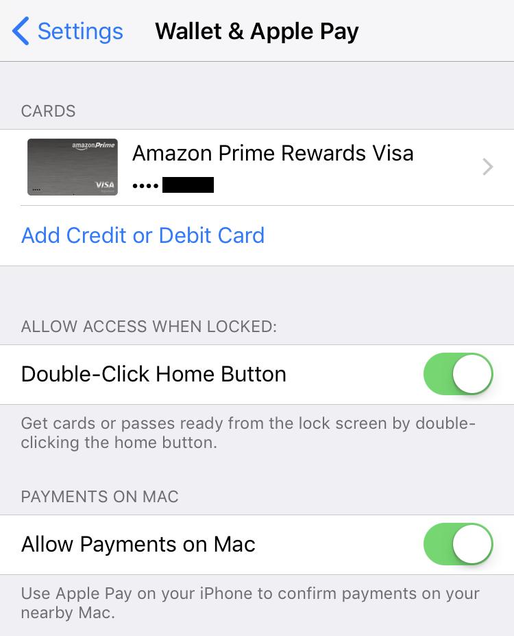 card verified ready to go - apple pay