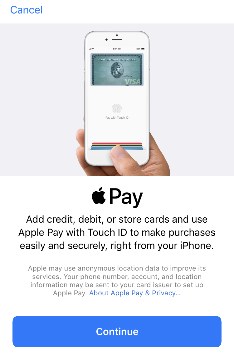 apple pay splash info screen