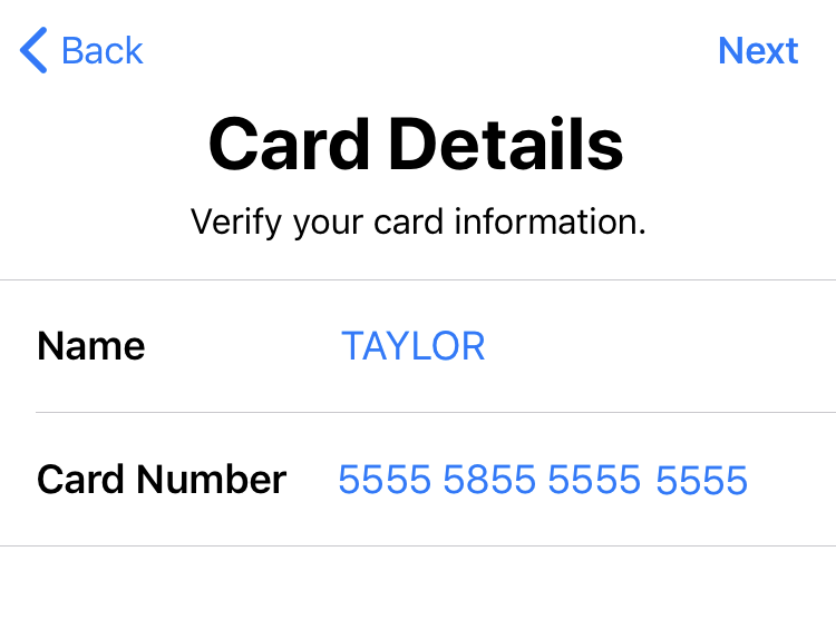 correct scan, apple credit card pay