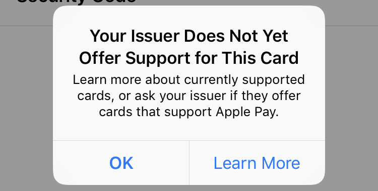 issuer doesn't support apple pay