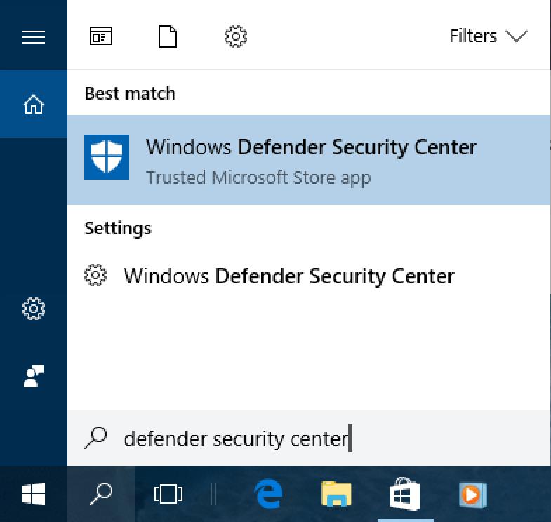 win10 search - defender control center