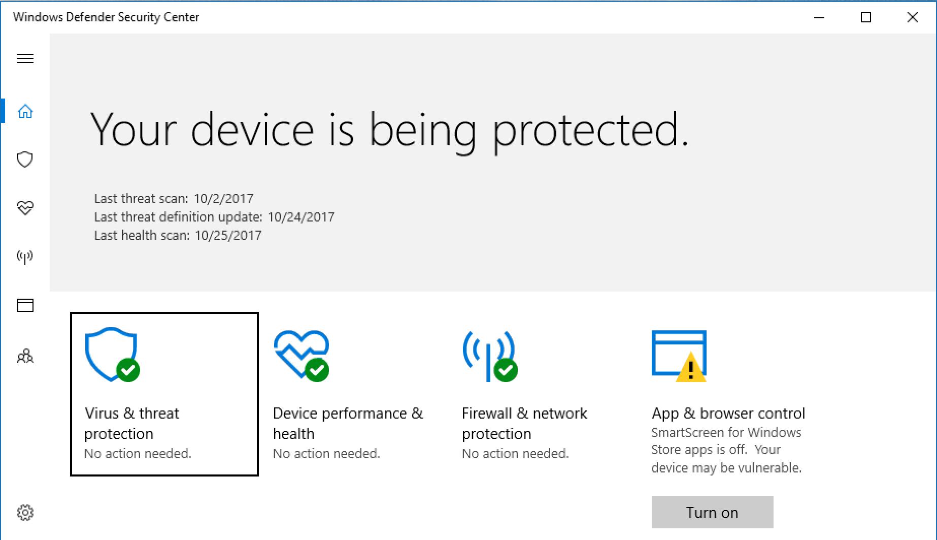 windows defender settings screen