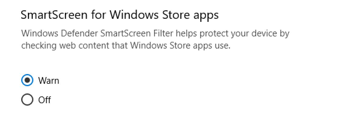 smartscreen for windows store apps