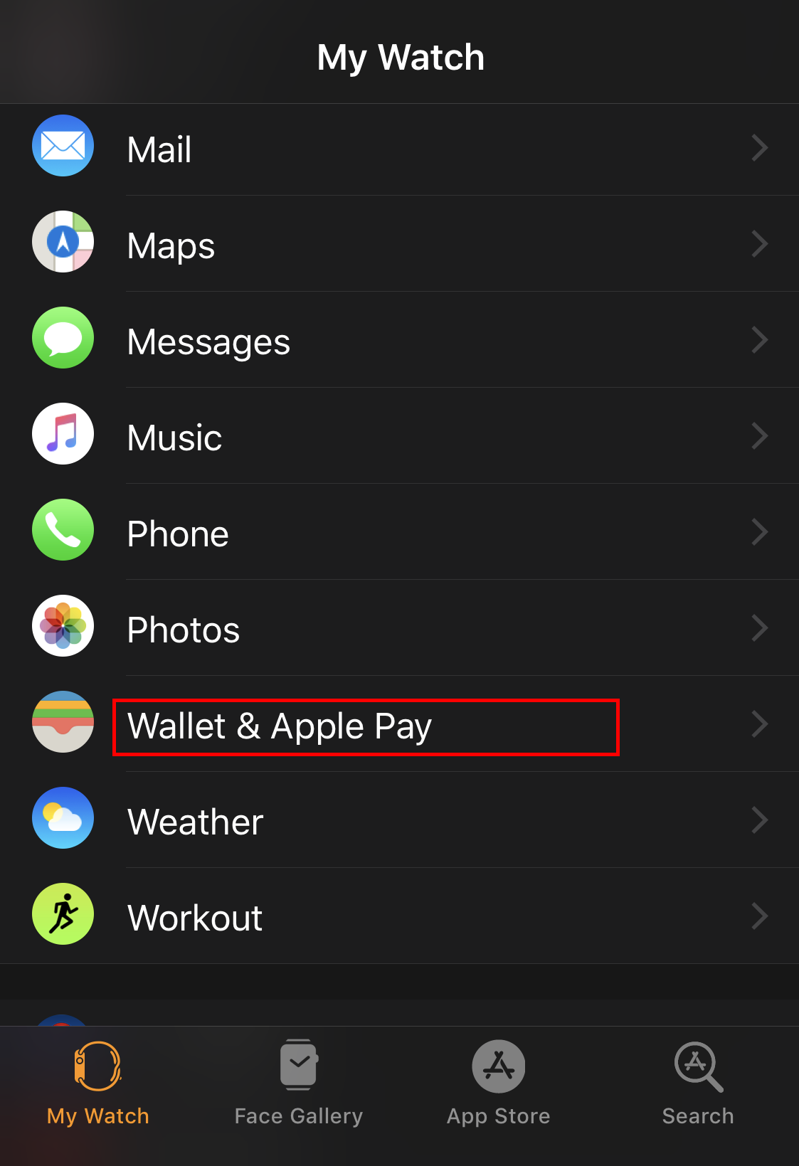 apple watch app > apple pay