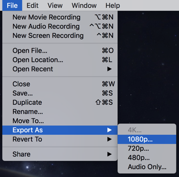 quicktime player file > export as > 1080p