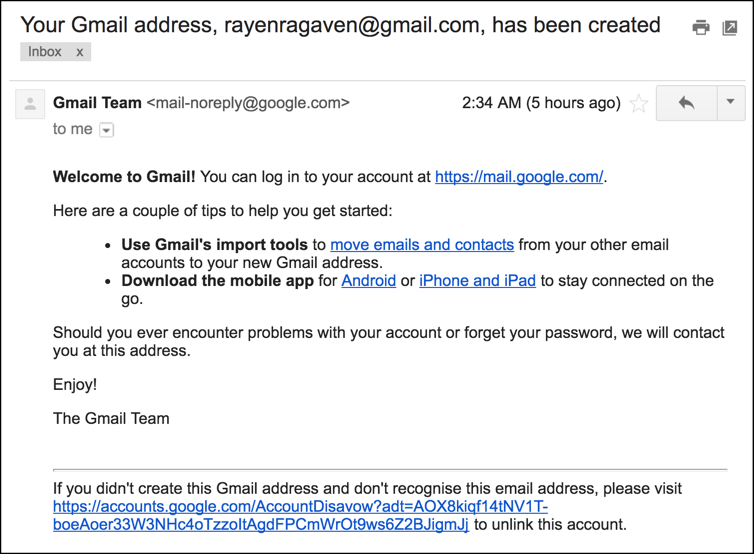 your gmail address has been created