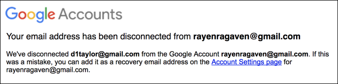 google gmail accounts connections disavow