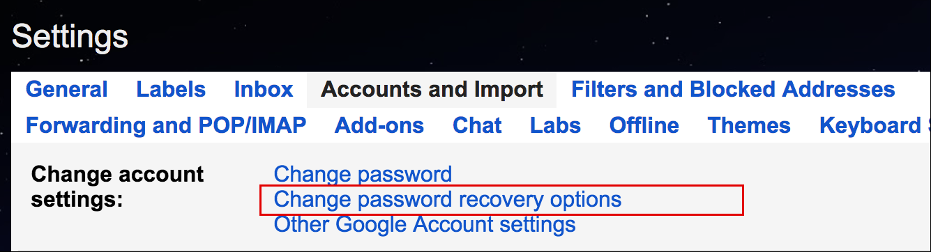 gmail accounts > security settings