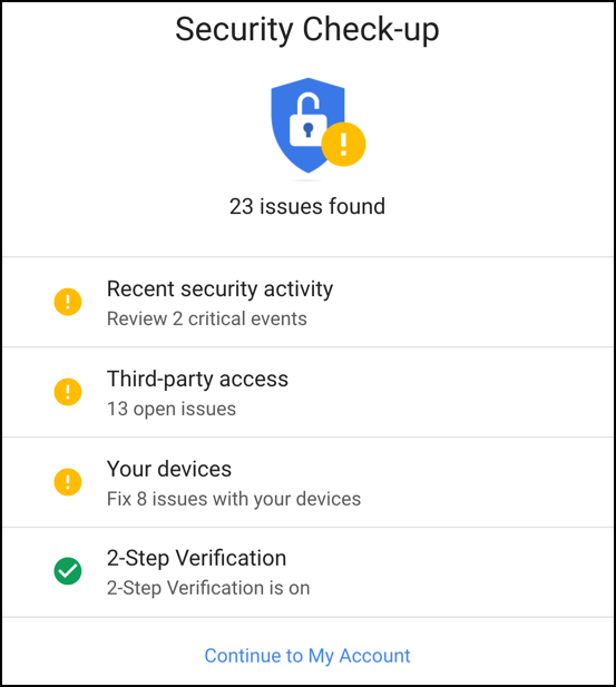 google gmail account security audit check