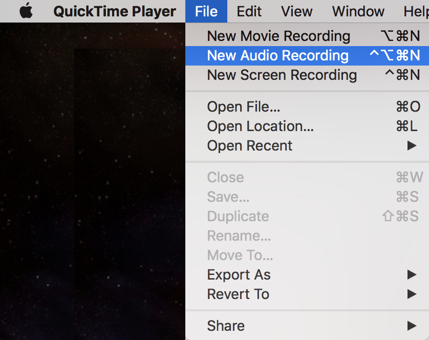 quicktime player - new audio recording